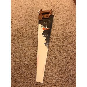 Vinatage saw snowman wall hanging